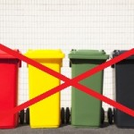 four colors recycle bins on the street