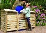 Mülltonnenbox-Holz-3er